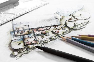 A garden design starts with a sketch